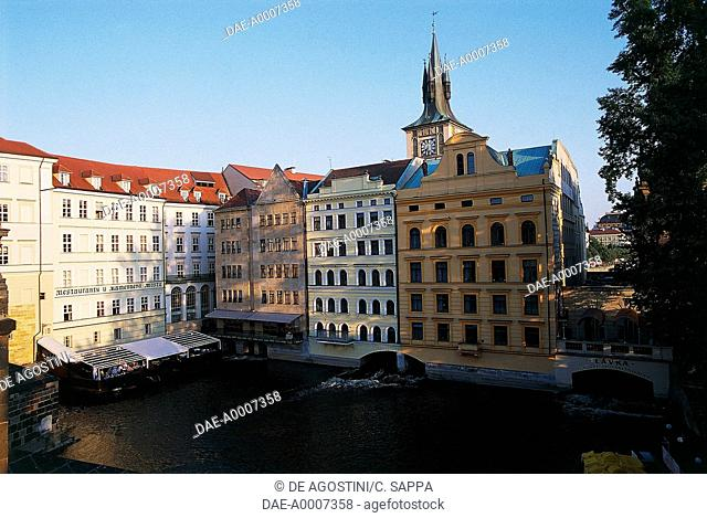 Buildings near Charles bridge, with the old water tower in the background, historical centre of Prague (UNESCO World Heritage List, 1992), Czech Republic