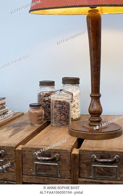 Baking ingredients in glass jars