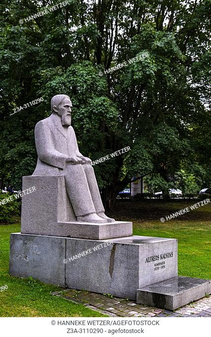 Statue of componist Alfreds Kalnins in Riga, Latvia, Baltic States