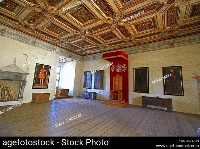 Interior view in Kalmar castle, The Golden Hall, Kalmar, Småland county, Sweden, Scandinavia