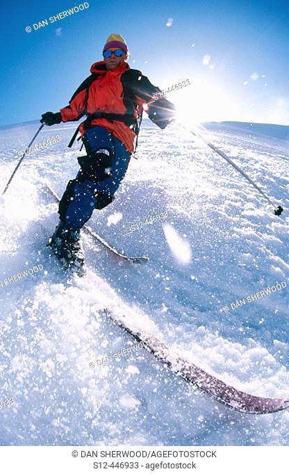 Telemark skiing on Mt. Hood. Oregon. USA