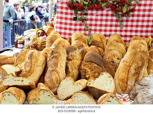 Artisan breads, folklore fair of Santo Tomas, Donostia, San Sebastian, Gipuzkoa, Basque Country, Spain, Europe
