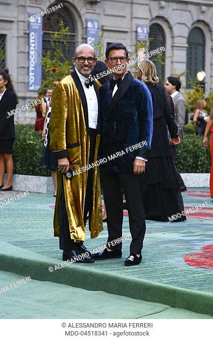 Italian influencer Alessandro Maria Ferreri with Marco Bonaldo attend the Green Carpet Fashion Awards at Piazza della Scala during the Milano Fashion Week