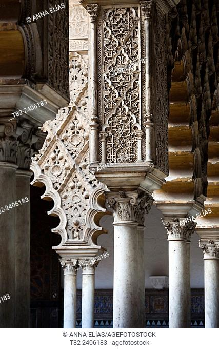 mozarabes columns and arches in the Andalusian Islamic palace, Reales Alcazares, Seville, Andalucia, Spain, europe