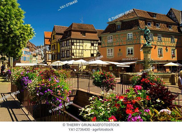 France, Haut-Rhin (68), Colmar town, Ancienne douane place and Schwendi fountain