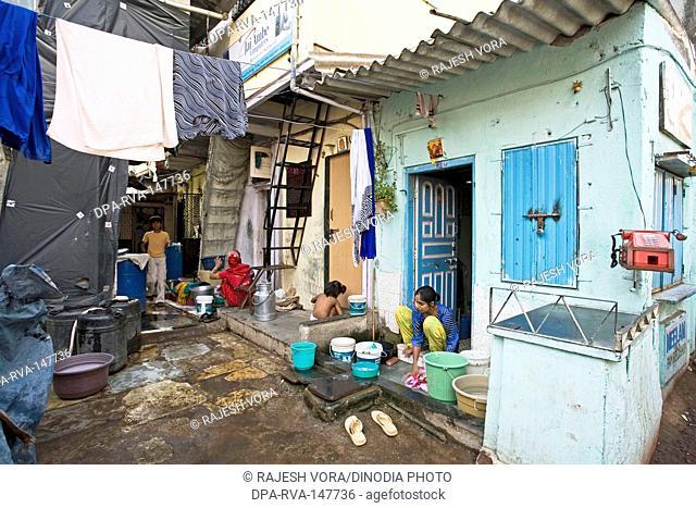 Slum Khotwadi ; Santacruz ; Bombay now Mumbai ; Maharashtra ; India