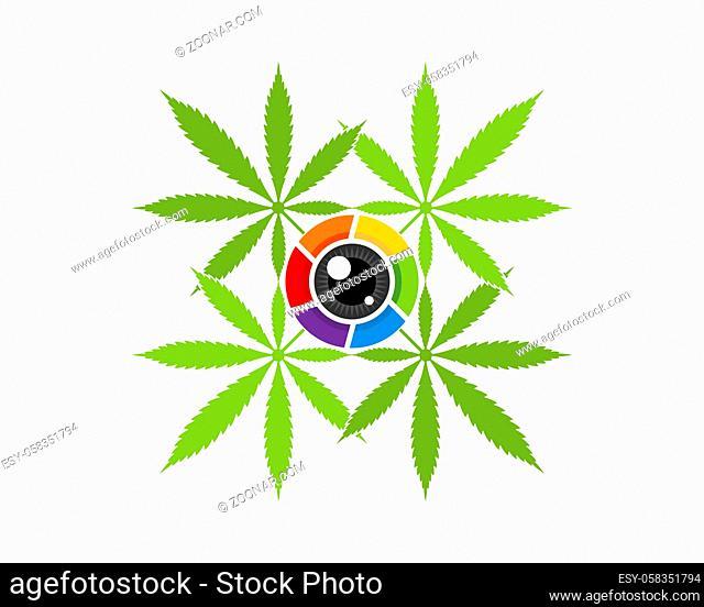 Cannabis leaf with camera lens inside