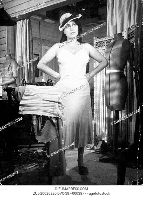 1955, Film Title: ROSE TATTOO, Director: DANIEL MANN, Pictured: CLOTHING, LINGERIE, ANNA MAGNANI, DANIEL MANN, SEWING ROOM