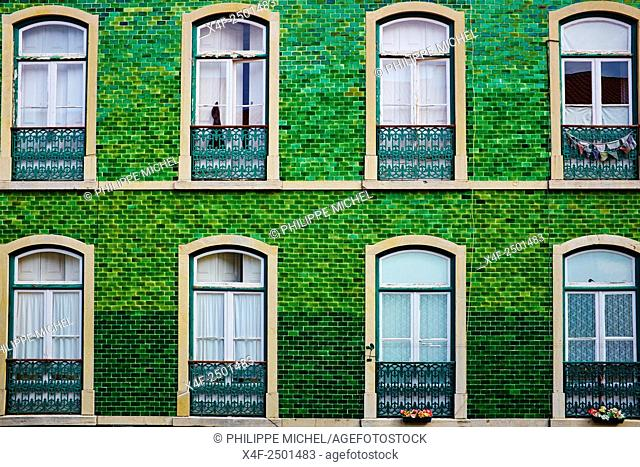 Portugal, Lisbon, front building in Bairro Alto area