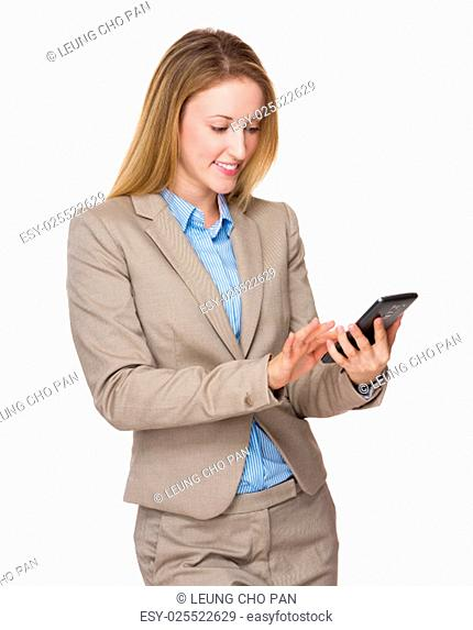 Businesswoman look at cellphone