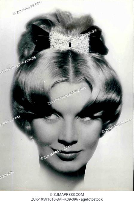 Oct. 10, 1959 - Latest In Hair Styles. Photo shows New -- Winter Coiffure Designed By Guillaume Showing His Hairtop Postiche