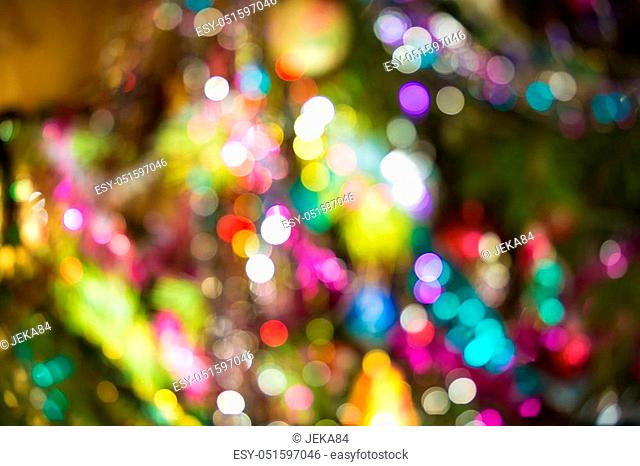 Defocused background decorated Christmas tree. The idea for postcards. Soft focus. Shallow DOF