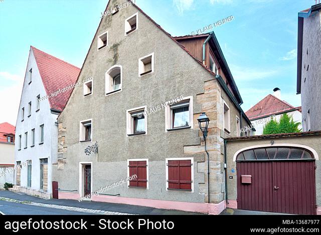 House facade, door, window, entrance, Amberg, Upper Palatinate, Bavaria, Germany, Europe