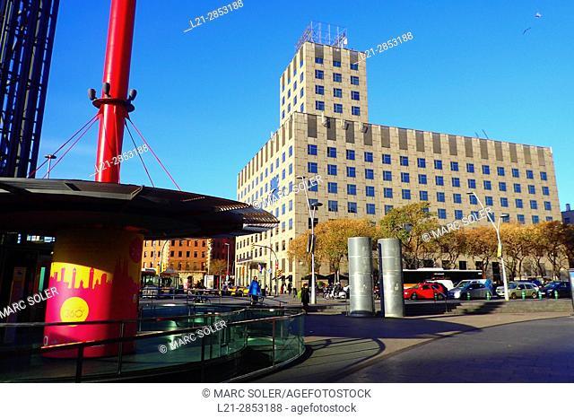 Hotel Catalonia Barcelona Plaza, view from Las Arenas shopping mall. Barcelona, Catalonia, Spain