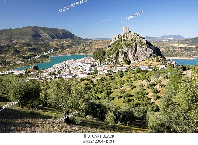 Moorish castle above white village with olive groves, Zahara de la Sierra, Sierra de Grazalema Natural Park, Andalucia, Spain, Europe