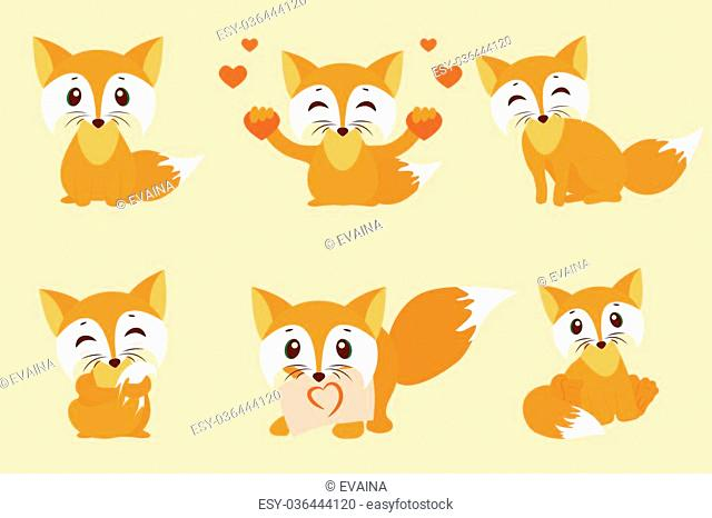 Set of cute foxes. Vector cartoon fox photo. Sitting with hearts, sweet, shy, with a leaf, looks fox. Sleek design illustration