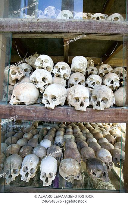 Skulls of the Khmer Rouge's victims at the Killing Fields Memorial of Choeung Ek, near Phnom Pehn. Cambodia