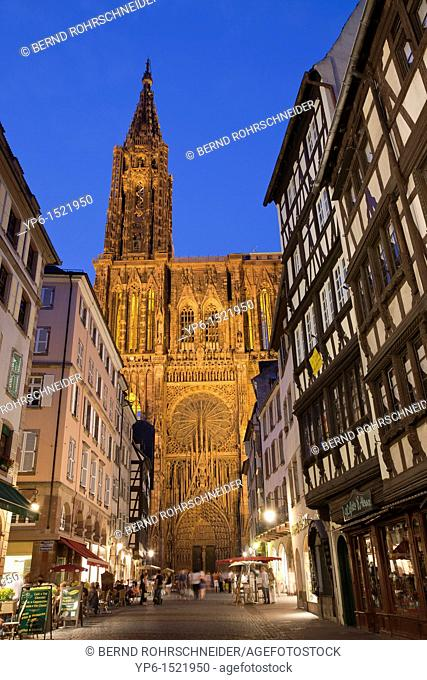 Strasbourg Cathedral, World Heritage Site, illuminated at night, Strasbourg, France