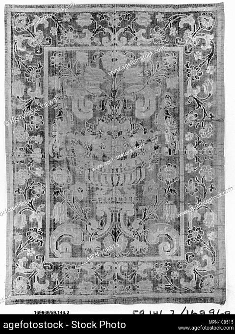 Hanging. Date: 17th-18th century; Culture: Spanish; Medium: Silk and cotton; Dimensions: L. 117 1/2 x W. 85 inches (298.5 x 215