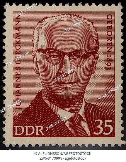 German stamp, GDR, portrait of the German journalist and politician Johannes Dieckmann