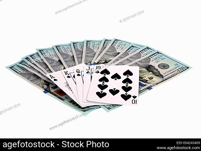 Online casino playing cards One hundred dollar bills, isolated on white. Top side view