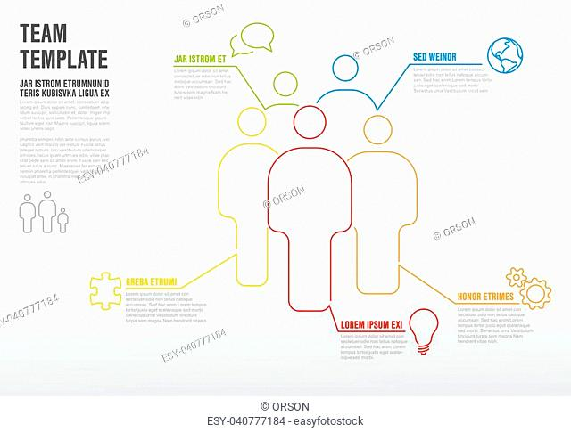 Thinline team infographic template for company overview or hierarchy schema