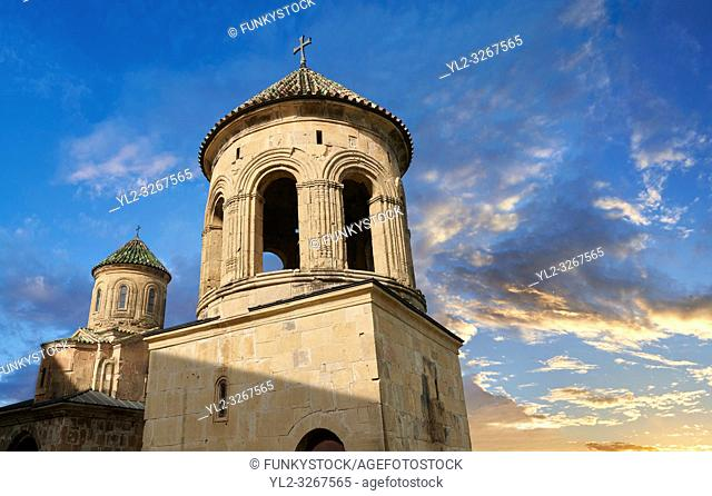 Pictures & images of Gelati Georgian Orthodox churches bell tower with St Nicholas church, 13th century, behind. The medieval Gelati monastic complex near...