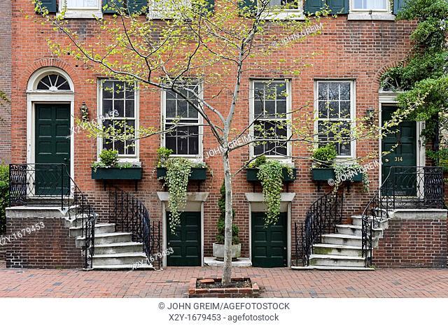 Colonial town house, Society Hill, Philadelphia, Pennsylvania, USA