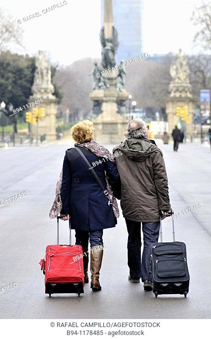 People with trolley, Barcelona, Catalonia, Spain