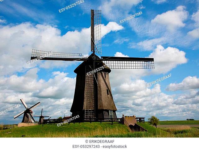 Dutch windmills at Schermerhorn in the Netherlands