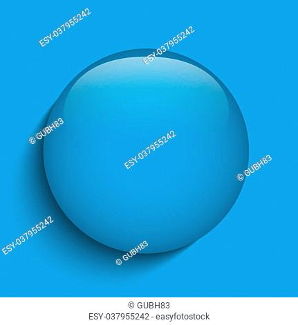Vector - Blue Glass Circle Button on Red Background