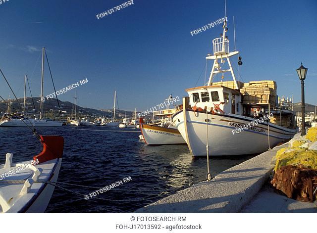 fishing boat, Paros, Greek Islands, Parikia, Cyclades, Greece, Europe, Fishing boats docked in the harbor of Parikia on Paros Island on the Aegean Sea
