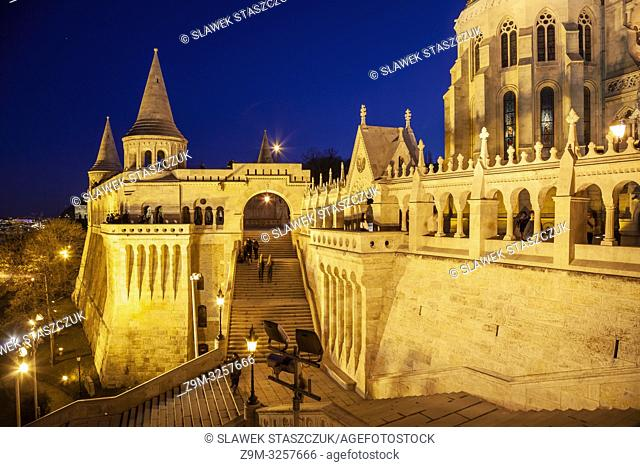 Evening at Fishermen's Bastion in the Castle District of Budapest, Hungary