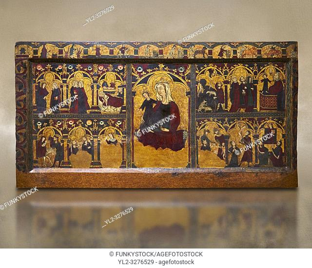 Gothic painted Panel Altar frontal of Jesus' childhood by anonymous artist from Navarra. Tempera and gold leaf on wood. Second quarter of 14th century