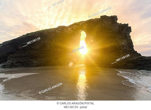 Sunset on the beach of the cathedrals, Ribadeo, Galicia, Spain