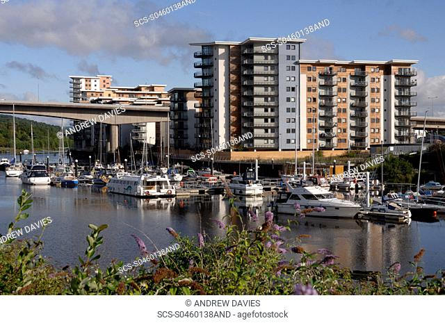 Ely River and apartments, Cardiff Bay, Cardiff, Wales, UK, Europe