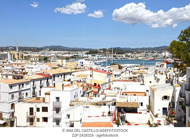 Panorama from Dalt Vila in Ibiza town is World Heritage Balearic islands Spain