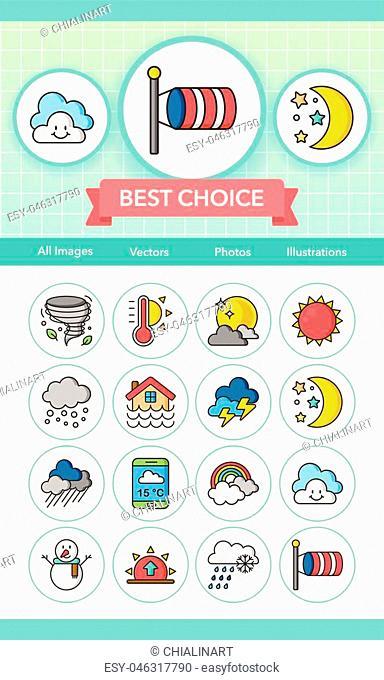 icon set weather vector