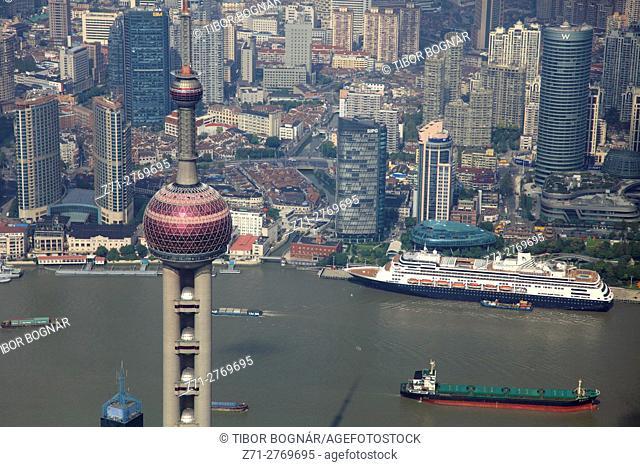 China, Shanghai, aerial view, Oriental Pearl Tower, Huangpu River,