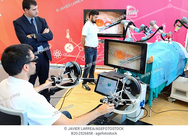 Development of a surgical robot with 3D vision and tactile sensations.This project has relied on the advice of surgeons for the design and manufacture of the...