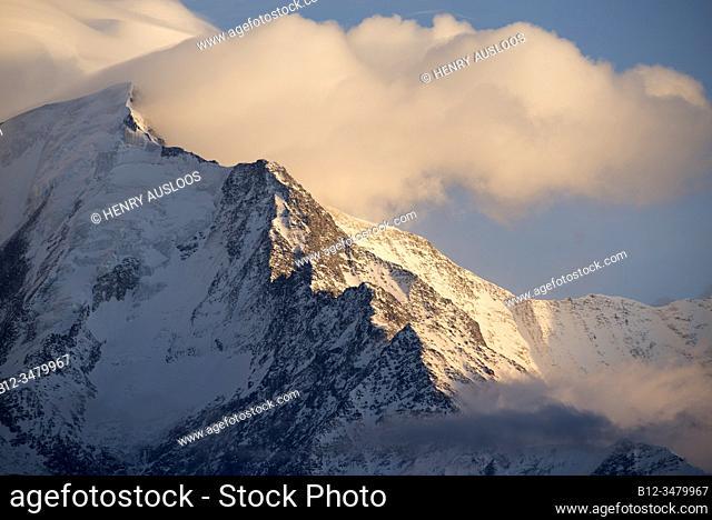 France, Haute-Savoie (74), Alps, Mont Blanc mountain range with different clouds