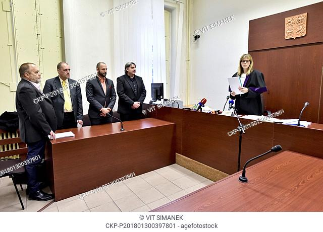 Kidnapped Czechs L-R Jan Svarc, Miroslav Dobes, Adam Homsi and Pavel Kofron are seen during the court hearing in Prague, Czech Republic, on Tuesday, January 30