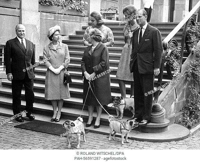Britain's Queen Elizabeth II and her husband Prince Philip, The Duke of Edinburgh during a visit to Prince Ludwig of Hesse and his wife