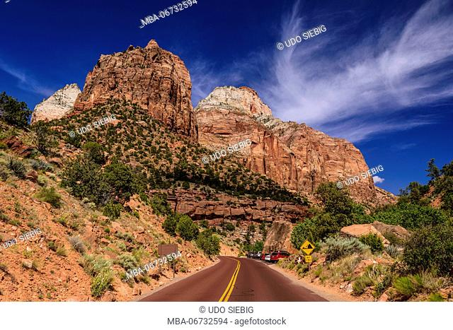 The USA, Utah, Washington county, Springdale, Zion National Park, Zion - Mount Carmel Highway, view close canyon Junction