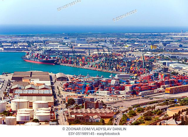 BARCELONA, SPAIN - AUGUST 27, 2012: Terminal Port Nou, Barcelona Cruise Port Terminals, Tourist Transport and Facilities At The Docks