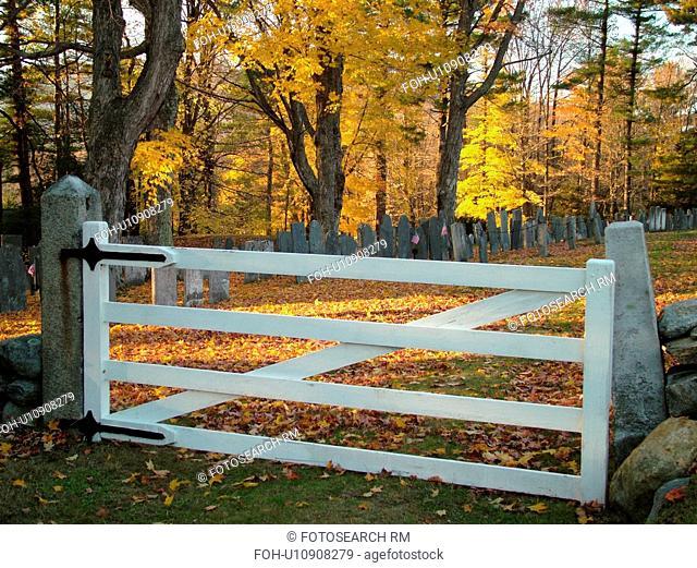 Jaffrey Center, NH, New Hampshire, Cemetery, white gate