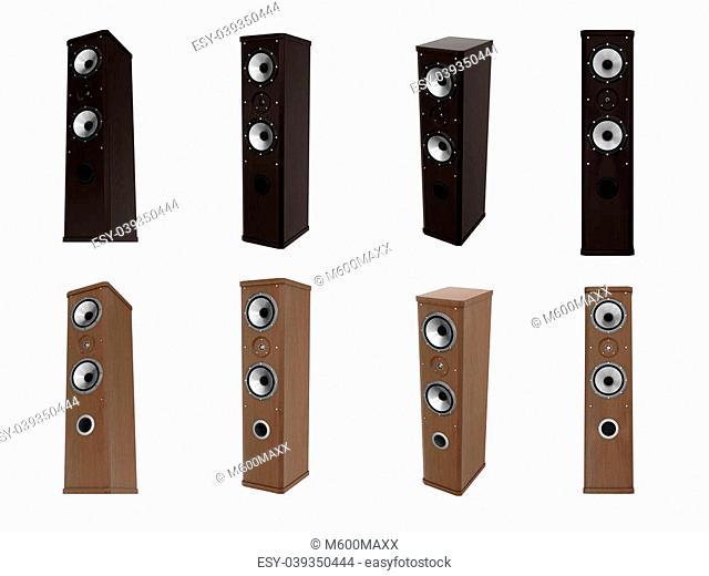 Dark and light audio speakers isolated on white