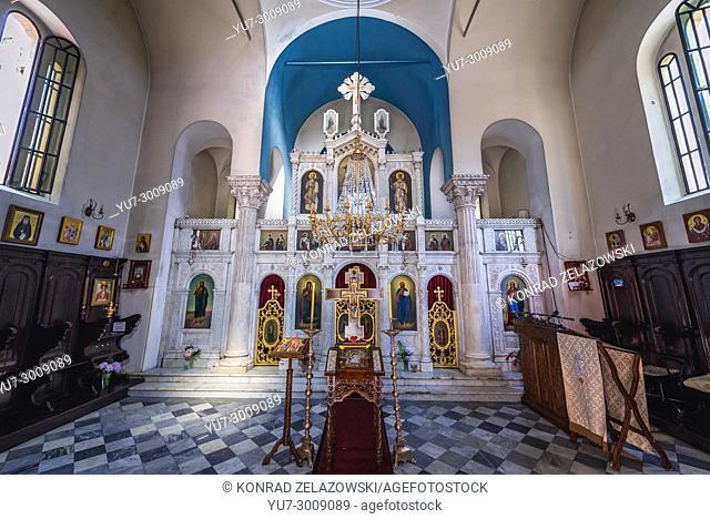 Iconostasis of Serbian Orthodox Church of Michael Archangel on Belavista Square on the Old Town of Herceg Novi city, Montenegro