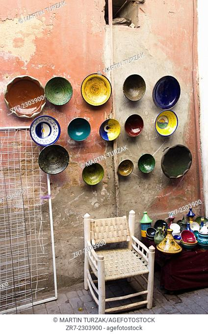Shop with ceramics and tajine dishes in Marrakech Morocco