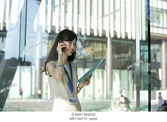 A working woman in an office building